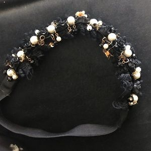 Ornate Gold and Black lace pearl headband